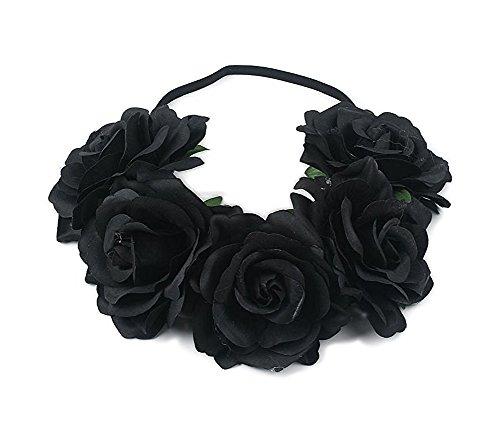 Merroyal Women's Hawaiian Stretch Flower Headband for Garland Party, x, Black