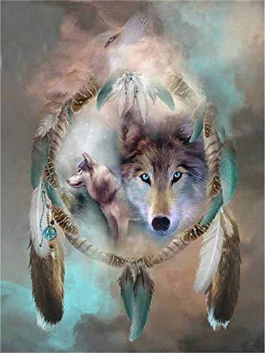 Pintura de diamante Lobo bordado de diamantes punto de cruz Animal mosaico diamantes de imitación pasatiempos y artesanía A7 30x40cm