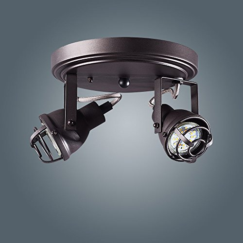2 Light Track Directional Light, Double Head Flush Mount Ceiling Fixture Adjustable Spotlight for Kitchen, Pantry, Stairwell, Hallway(7.8 inch)
