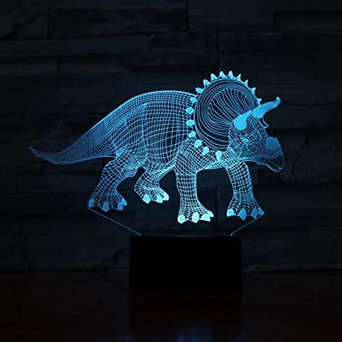 Lámpara Led de dinosaurios herbívoros novedad ilusión lámpara de noche Led 7 cambio de color Luminaria cumpleaños fiesta de Navidad regalo