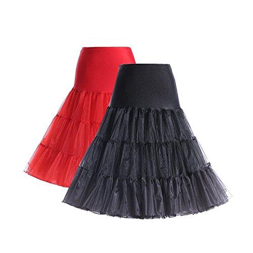 Boolavard Vintage Retro Enaguas de 50 oscilación de 1950 Rockabilly Blanco, Negro, Azul, Rosa, Rojo (S-M, 2 Set (Negro + Rojo))