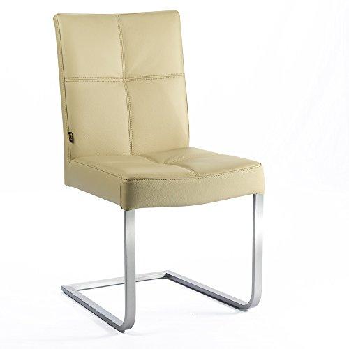 Freischwinger Lederstuhl Libero Edelstahl Stuhl Leder-Stühle Rindsleder Mocca