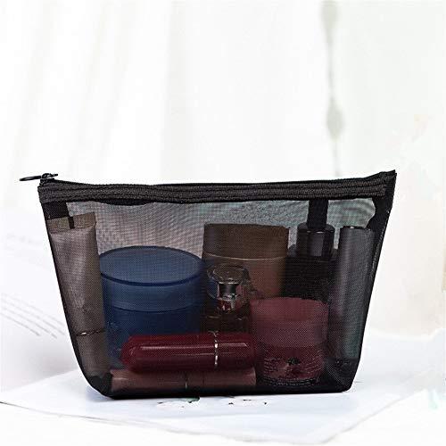 PoplarSun 1PCS Femmes Sac cosmétique Mode Voyage Transparent Petit Grand Maquillage Noir Sacs de Toilette Organisateur Housse (Color : L 21x6.5x12cm)