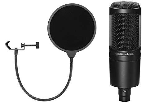 Audio-Technica AT2020 Kondensatormikrofon Set (mit Nierencharakteristik, inkl. McGrey Popkiller) Schwarz