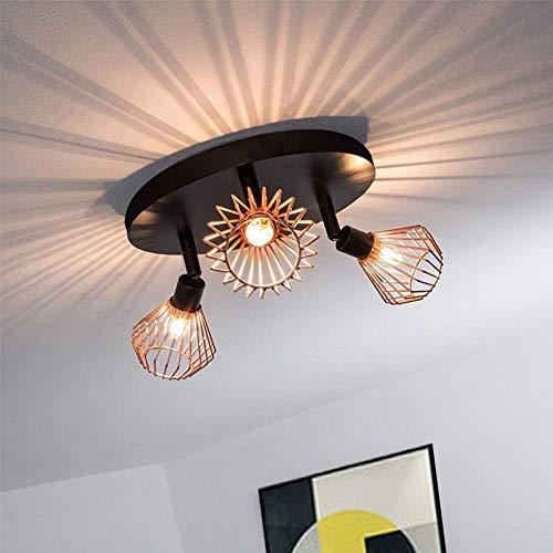 Vintage-Deckenleuchte, modern, Retro, 4 Lichter, Kronleuchter, schwarz, halb-bündig montiert, Deckenlampe für Wohnzimmer, Schlafzimmer und Esszimmer Antik Deckenleuchte aus Kupfer