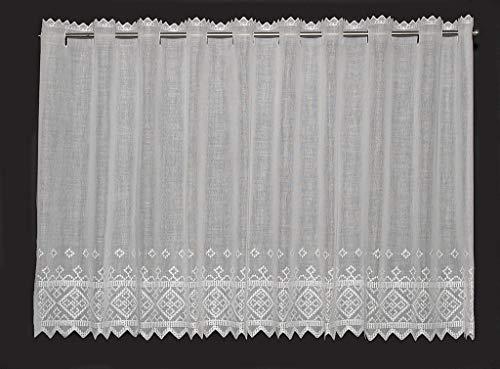 Tenda della finestra Batiste ricamata con punto croce | Può scegliere la larghezza in segmenti da 21 cm, come vuole | Colore: Bianco
