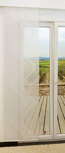 LYSEL Schiebegardine Braid transparent mit Linien in den Maßen 245 cm x 60 cm weiß/reinweiß
