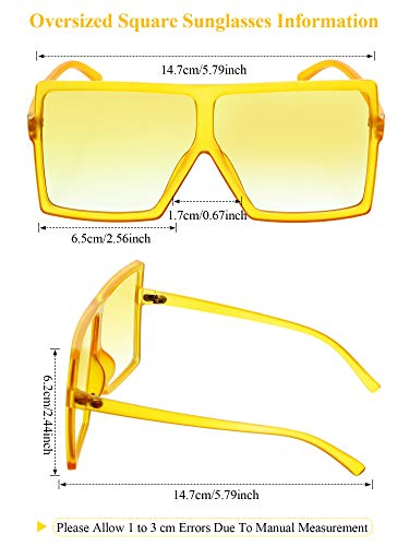 9 Pieces Oversized Square Sunglasses Flat Top Shades Retro Oversize Sunglasses for Women, Assorted Colors