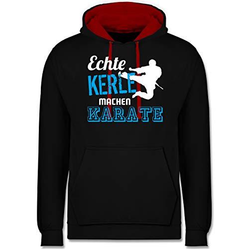 Shirtracer Kampfsport - Echte Kerle Machen Karate - 4XL - Schwarz/Rot - Karate Hoodie - JH003 - Hoodie zweifarbig und Kapuzenpullover für Herren und Damen