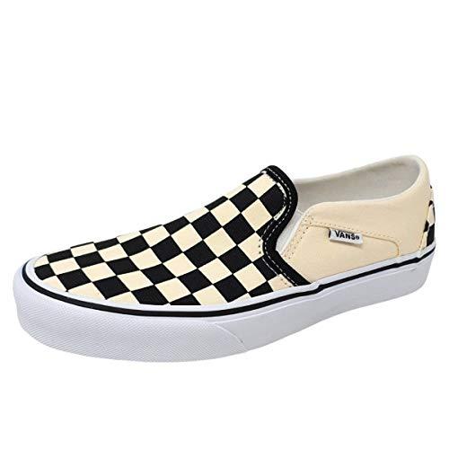 Vans Asher, Zapatillas sin Cordones para Mujer, Blanco (Checkerboard/Black/White), 37 EU