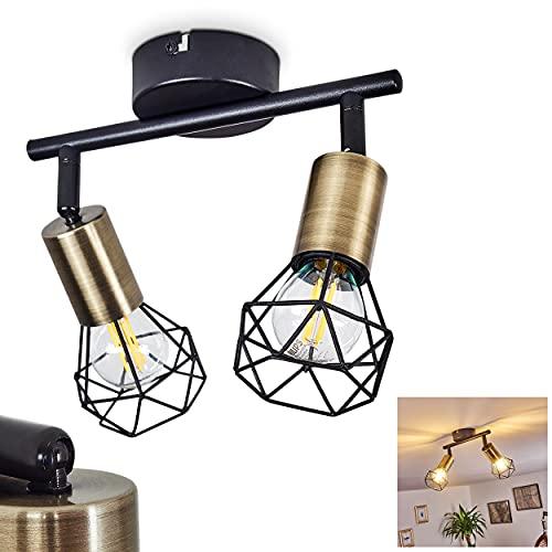 Deckenleuchte Baripada, 2-flammige Zimmerlampe in Schwarz und Messing, Gitterschirme mit Lichteffekt, Spots sind dreh- und schwenkbar, x E14 max. 40 Watt, für LED Leuchtmittel verfügbar