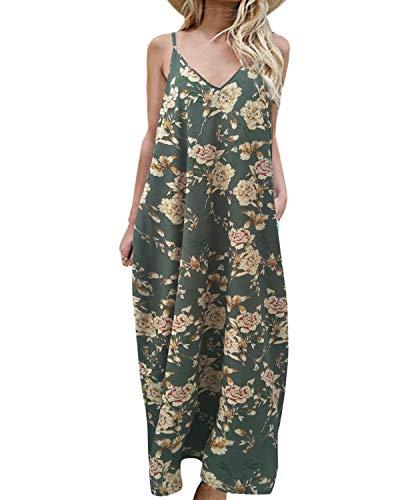 kenoce Vestidos Largos Mujer Vestidos Playa Cuello en V Bohemia Estilo Estampados Florales con Bolsillos Vestido sin Mangas Vestido sin Espalda Sexy y Elegante H-Verde M