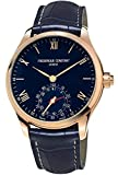 Frederique Constant Men's Horological Smart Watch Stainless Steel Swiss-Quartz Leather Calfskin Strap, Blue, 21 (Model: FC-285N5B4)
