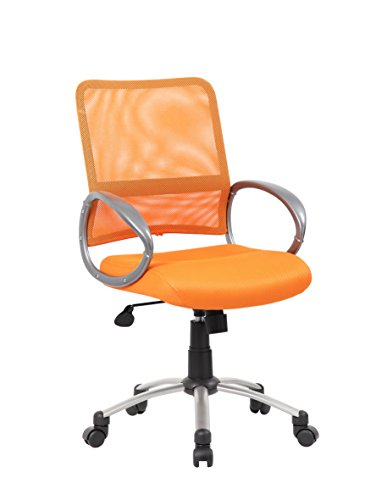 Boss Office Products Mesh Back Task Chair with Pewter Finish in Orange