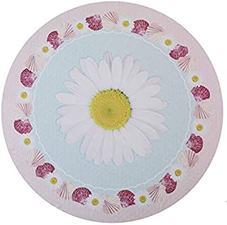 UOT Round Beach Towels Microfiber WHITE DAISY FLOWER