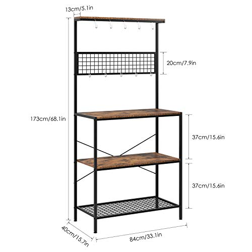 Homfa Standing Kitchen Bakers Rack, 3-Tier Kitchen Microwave Storage Rack, Utility Storage Shelf with Mesh Panel with 10 Hooks, Kitchen Storage Cupboard, Adjustable Feet, Metal Frame--Rustic Brown