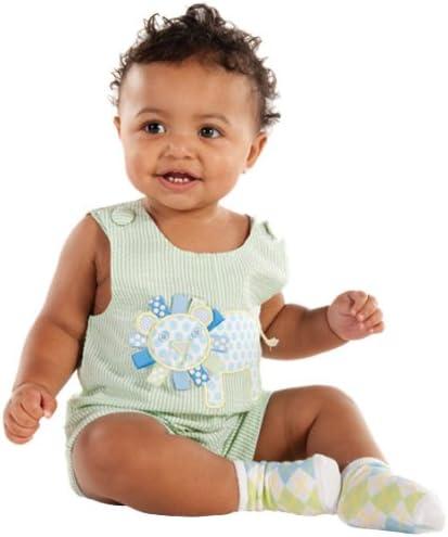 Mud Pie Baby Lil' Buddy Green Seersucker Shortall, Lion, 0 6 Months