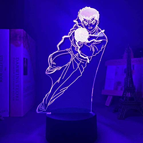 Ilusão de luz noturna 3D Anime japonês Decoração LED Anime Yu Yu Hakusho Yusuke Urameshi LED Nachtlicht para Schlafzimmer Dekor Geschenk Bunte Nachtlicht Anime 3D Lampe Yu Yu Hakusho QLWLKJ HOICHAN