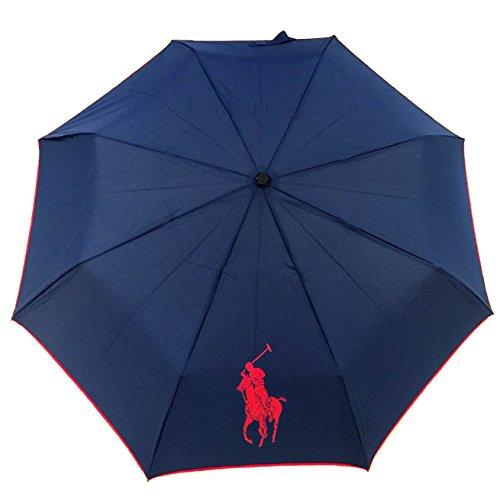 RALPH LAUREN NEW Genuine Automatic Folding Logo Umbrella Brolly (Navy)