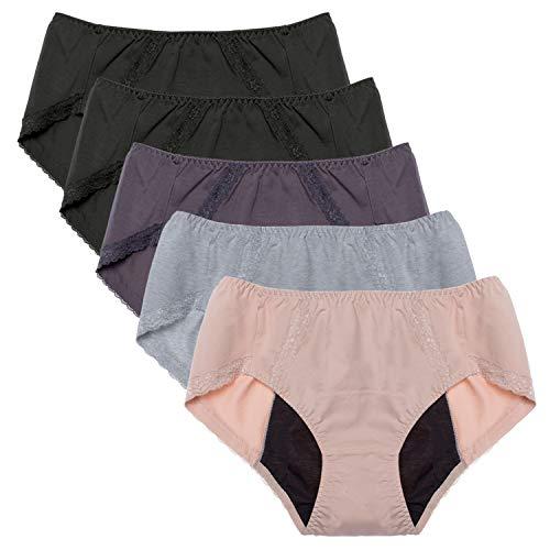 Intimate Portal Mujer Ropa Interior Menstruales Culottes de Protección Braguitas para Mentruación Periodo Incontinencia Negro Gris Beige (PK de 5) 2XL