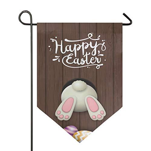 Oarencol Osterflagge mit lustigem Hasenboden, Bunte Eier, Vintage, Holz, doppelseitig, Dekoration für den Außenbereich, 31,8 x 45,7 cm, Polyester, Multi, 12.5 x 18 inch