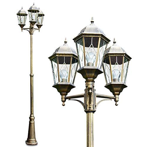 Außenleuchte 3-armig, Kandelaber in Braun/Gold, 3 x E27 60 Watt, Gartenbeleuchtung aus Aluguss mit echten Glasscheiben, Laterne für den Aussenbereich, Wegeleuchte Garten, Höhe 270 cm, Vintage-Design