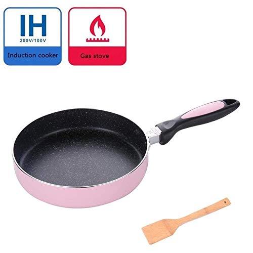 FEOPW Sartén de 20 cm de aleación de Aluminio Antiadherente sartén Crepe Huevo Frito del Filete de Bricolaje turrón de Caramelo Jam sartén, Rosa sarten Huevo Frito (Color : Pink Black)