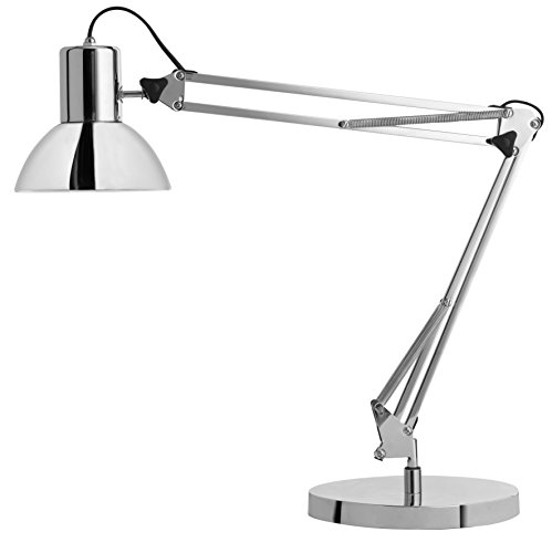 Unilux 400092123 Lampe de Bureau LED, Aluminium, E27, 10 W, Chrome, 40 x 40 x 20 cm