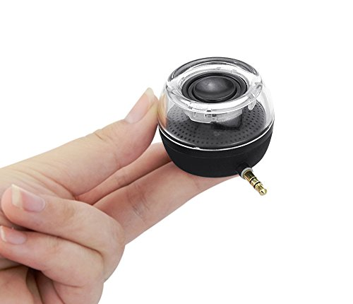 SYCASE Mini Altavoz portátil, Plug and Play Altavoz inalámbrico para teléfono móvil de 3 W con batería de Litio de 250 mAh Jack de Audio Auxiliar de 3,5 mm Enchufe Clear Bass Puerto Micro USB (Negro)