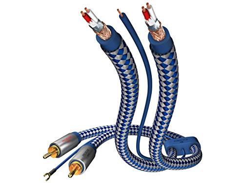inakustik - 00405115 - Premium Phonokabel (Cinch, RCA) | Separate Masseleitung | 1,50m in Blau/Silber | 2-fache Abschirmung - Vollmetallstecker | Kabeldurchmesser: 6,0 mm - moderner Geflechtschirm