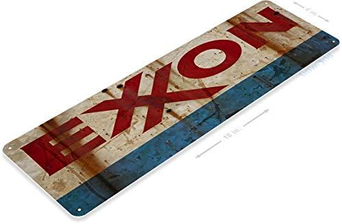 "Tinworld TIN Sign B597 Exxon Rust Retro Rustic Oil Gas Station Metal Sign Garage Auto Shop Cave 6"" x 18"""