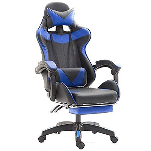 DALIBAI Silla de Oficina Silla de Masaje reclinable Gaming - ergonómico de Alta Volver Racing Ordenador Silla de Oficina Escritorio con 66x120cm retráctil (Color : Blue)