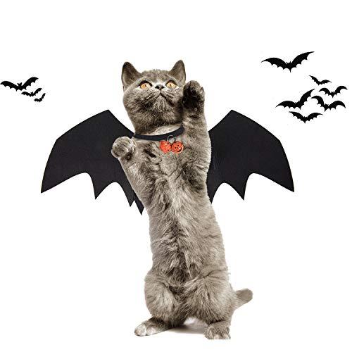 KATELUO Costume de Chien de Chauve-Souris Halloween, Ailes de Chauve-Souris de Chat, Costumes Halloween Chien Chat, Idéal pour Chiot Chien Chat Halloween Cosplay Party (M)
