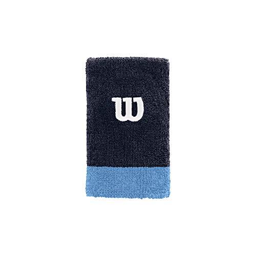 Wilson Muñequera de tenis, Ancha, Felpa francesa, Azul claro/azul oscuro/naranja, WRA733518