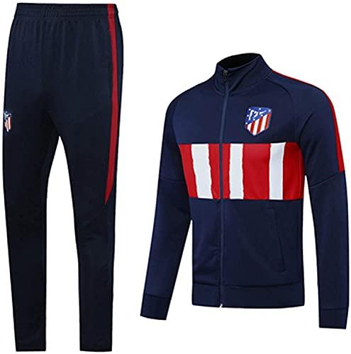 SXMY 2021 Fútbol Fútbol Chándal Camiseta de fútbol Atlětico Mǎdrid Entrenamiento Cuello Alto Equipo Deportivo Profesional Conjunto de Uniforme y pantalón de Manga Larga(Size:Small,Color:Azul)