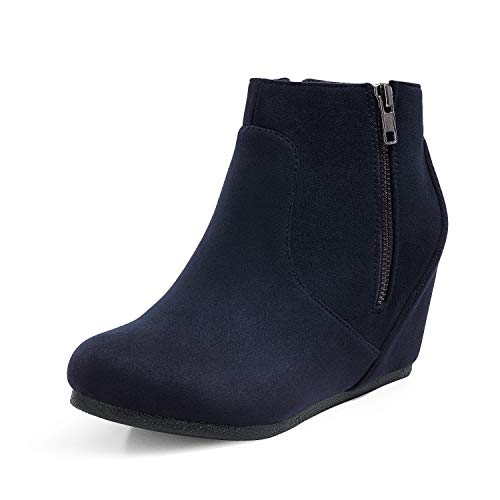 DREAM PAIRS Women's Low Wedges Ankle Boots Narie/Navy/Suede,7.5 M US