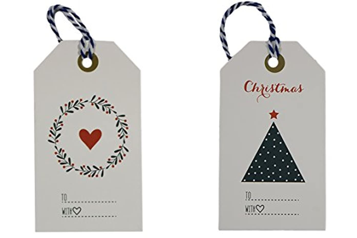 Kraft Tags for Gift Wrapping and Labeling (Red White Blue Christmas Tags 48 PCS)