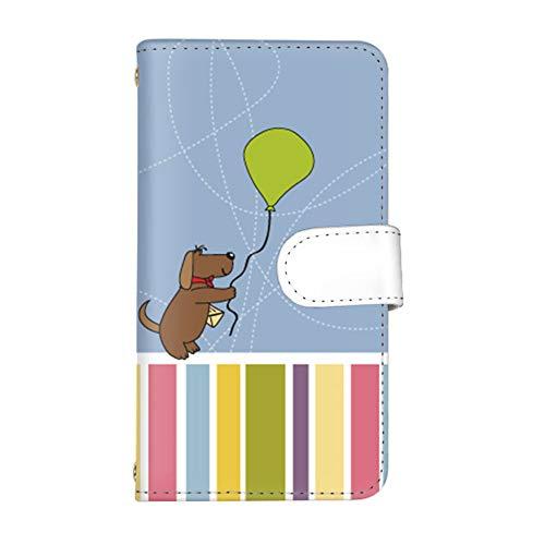 スマ通 スマホケース Android One S8 カード収納 ミラー付き 手帳型 KYOCERA 京セラ アンドロイド ワン エスエイト 【D.ブルー】 カラフル 犬 プレゼント vc-699