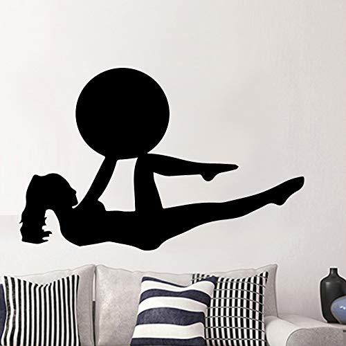 Tianpengyuanshuai Schlanke Frau Yoga Muster Wandaufkleber Vinyl abnehmbare Wandtattoo wasserdicht 28X33cm