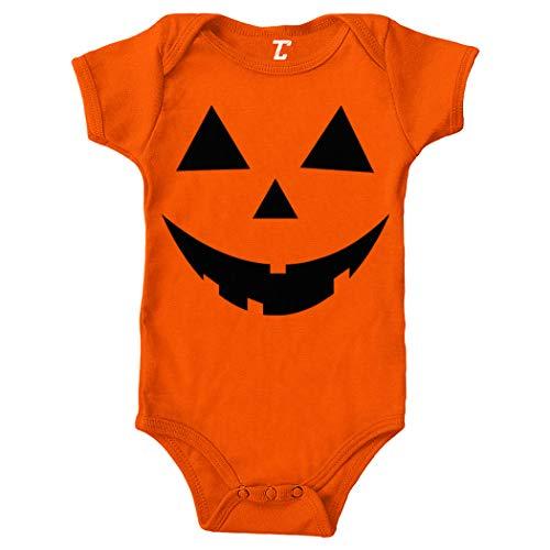 Pumpkin Face - Jack O' Lantern Bodysuit (Orange, Newborn)