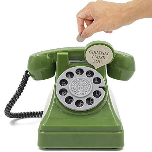 DreamsEden Hucha de teléfono vintage – bonita caja de ahorro, decoración del hogar (verde)