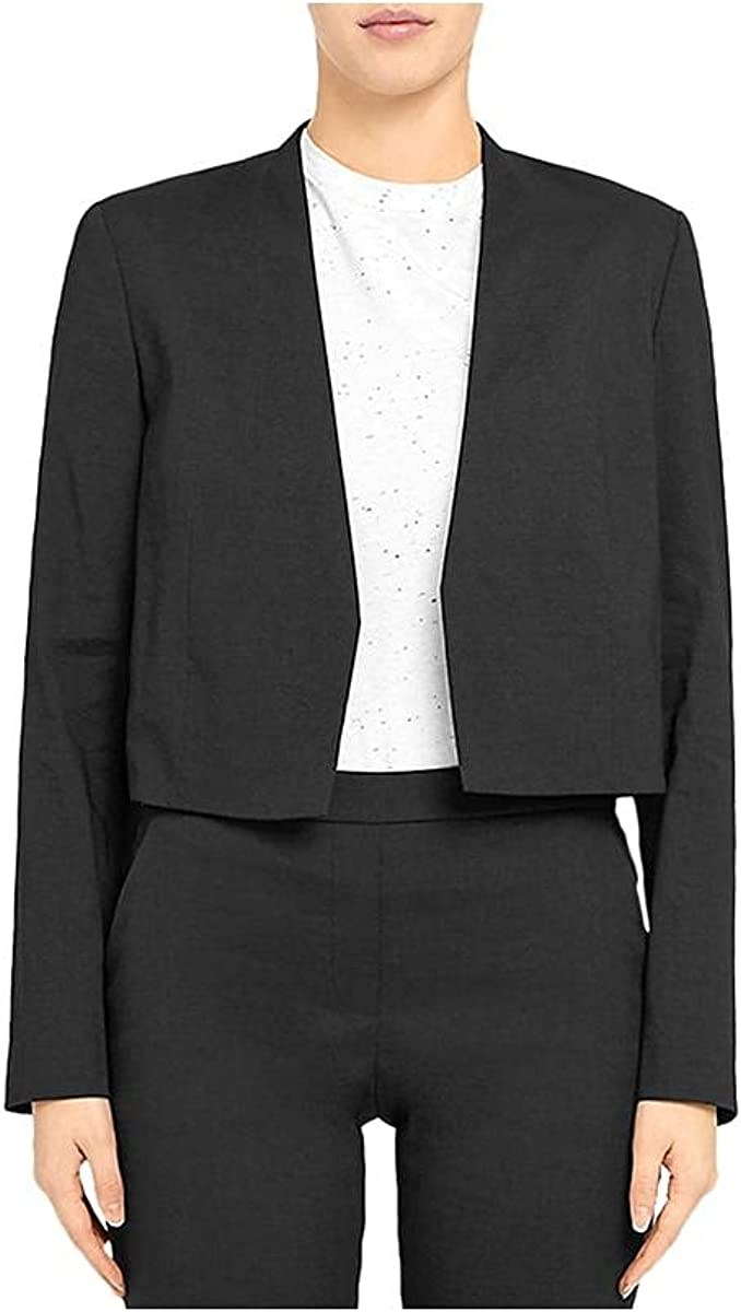 Theory Womens Linen Suit Separate Collarless Blazer