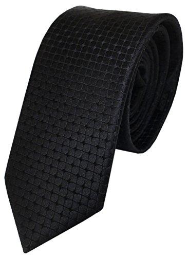 TigerTie schmale Designer Seidenkrawatte in schwarz kariert einfarbig gemustert - Krawatte reine Seide/Silk