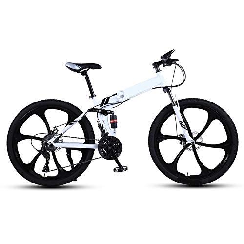 ndegdgswg Bicicleta de montaña plegable para adultos, de una rueda, doble absorción de golpes, para carreras fuera de carretera, velocidad variable, para estudiantes de 24 pulgadas, 21 velocidades.