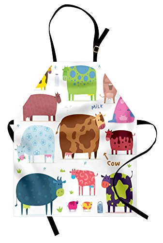 Lunarable Cartoon Apron  Cartoon Design Cows Colorful Barnyard Animals Bucket Farm Theme  Unisex Kitchen Bib with Adjustable Neck for Cooking Gardening  Adult Size  Blue Brown