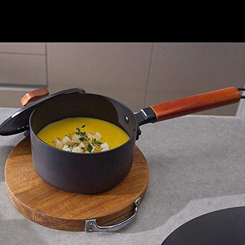 EDCV Kitchen Mini Stoofpan Steelpan voor Gas Inductiekookplaat 16cm 2L Gietijzer Kooksoep Pot Melk Verwarming Kookpan Anti-aanbak Pan, Zwart