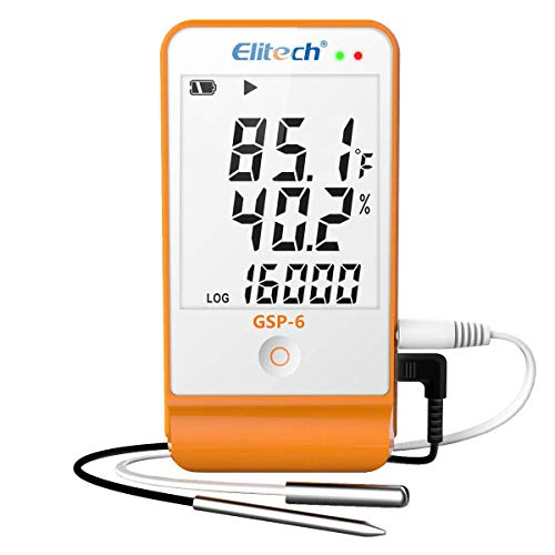 Elitech GSP-6 Temperature and Humidity Data Logger 2 Temperature Sensor Probes Temperature Recorder 16000 Points