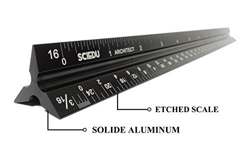 Etched and Solid Aluminum Architect Scale, SciEdu Triangular Ruler...