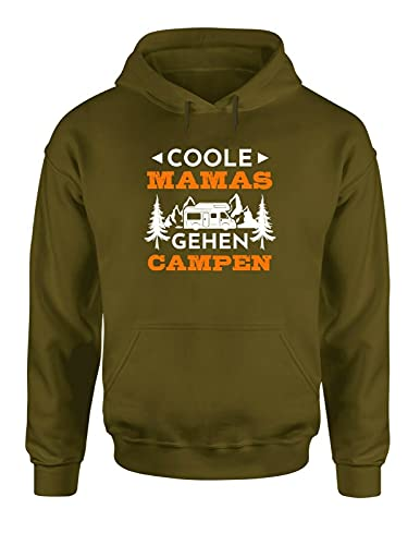 Camping & Outdoor Coole Mamas gehen campen Funshirt Hoodie Sweater, Farbe: Olive, Größe: X-Large