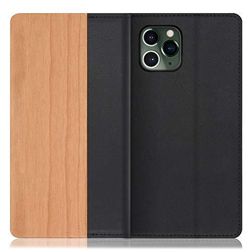 [左利き仕様] LOOF Nature iPhone 11 Pro ケース 手帳型 カバー 天然木 本革 ウッド 手帳型ケース 手帳型カバー 携帯ケース 携帯カバー スマホケース スマホカバー ベルト無し 木製 スタンド機能付き カード収納 カードポケット